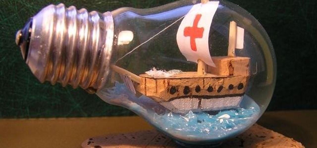 Lightbulb ship in a bottle