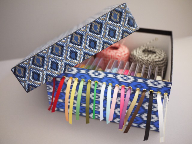 Shoebox ribbon organizer
