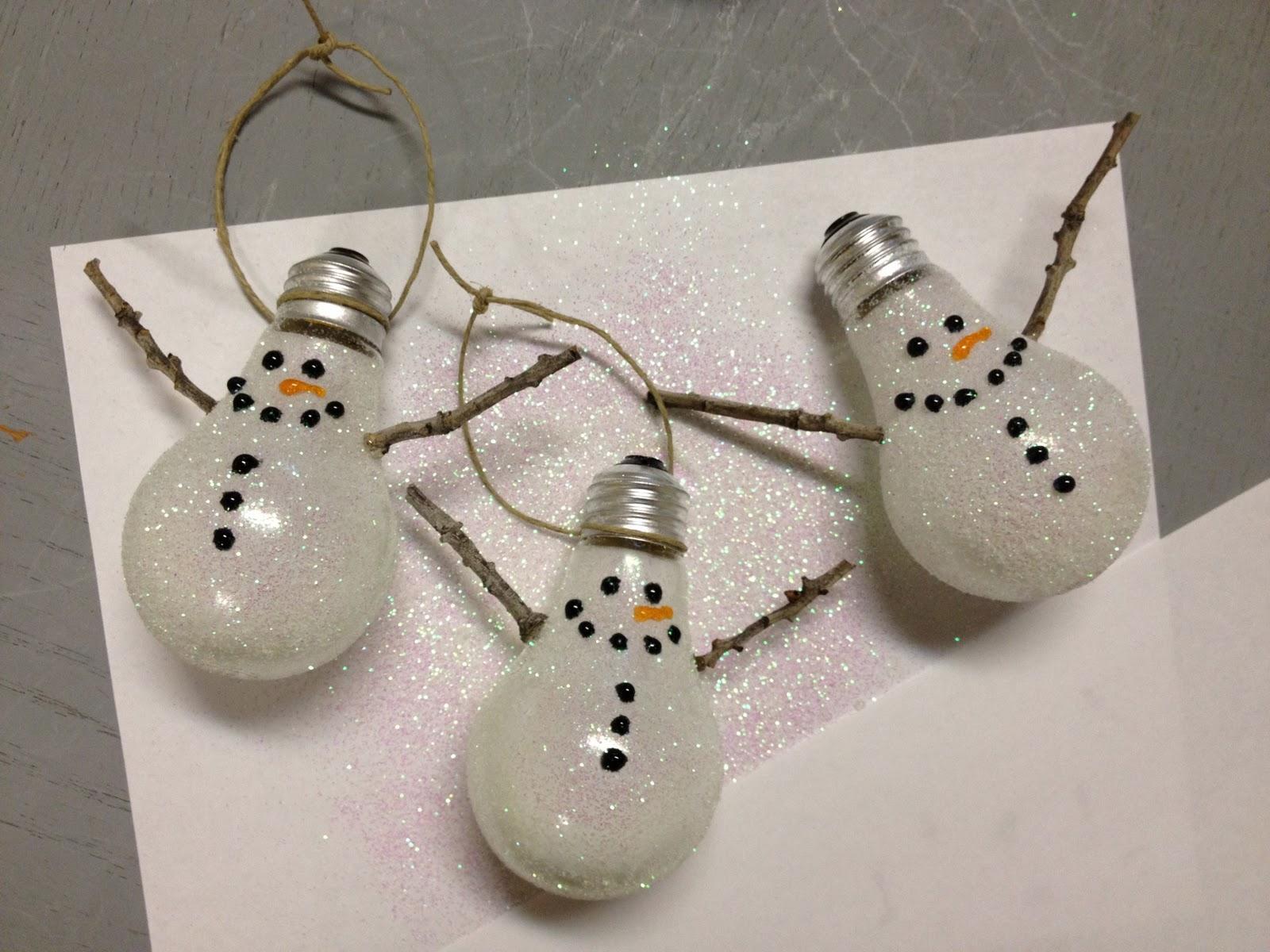 Light bulb Snowman ornaments