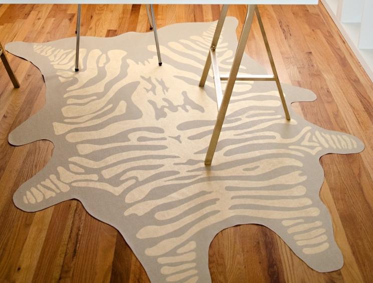 Zebra printed rug