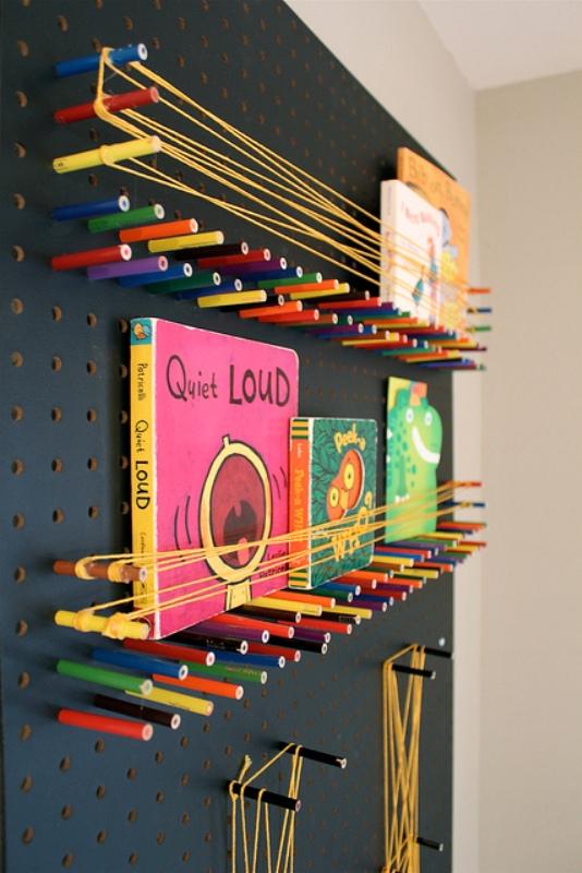 pegboard bookshelf