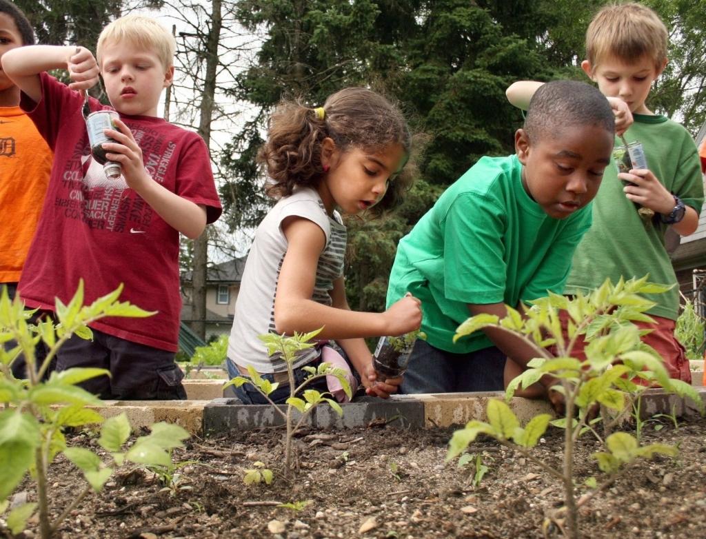 Children volunteering in community garden