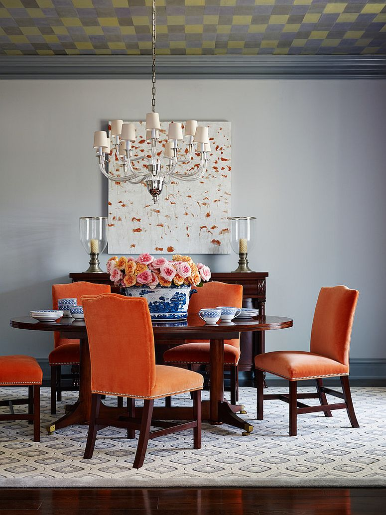 Orange Velvet Dining Chairs