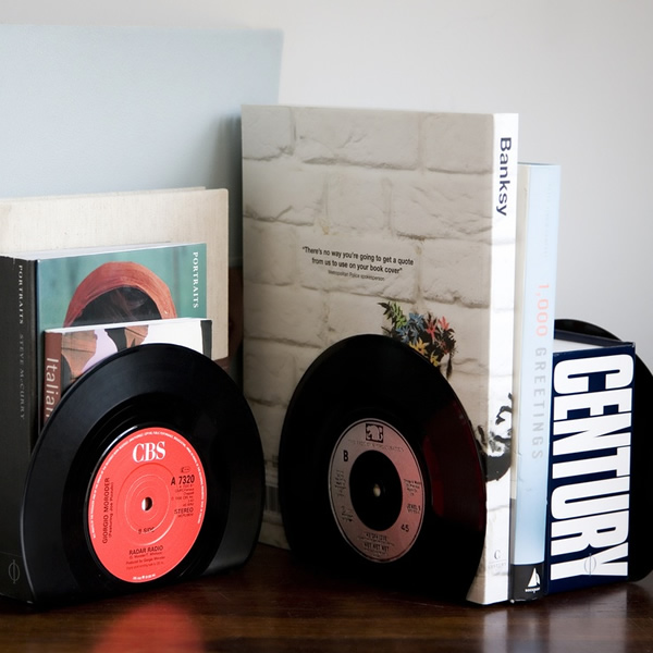 Broken vinyl records to make bookends
