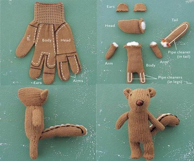 Make cute stuffed animals from old gloves