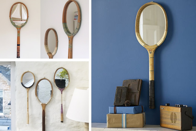 Make mirrors from tennis rackets