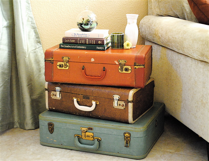 an old suitcase as a table