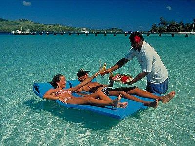 floating on a raft in figi