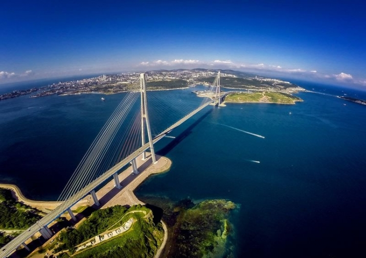 Russky Bridge in Vladivostok, Russia