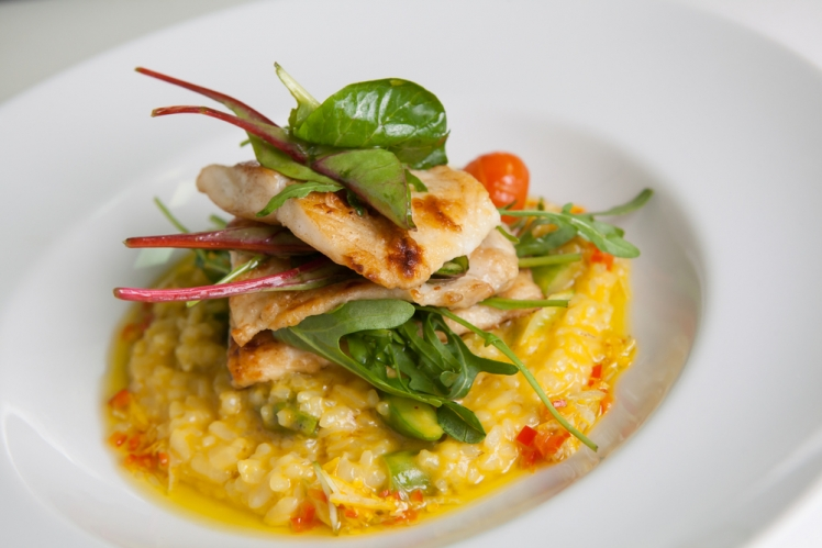 Fried cod with risotto and fresh rice