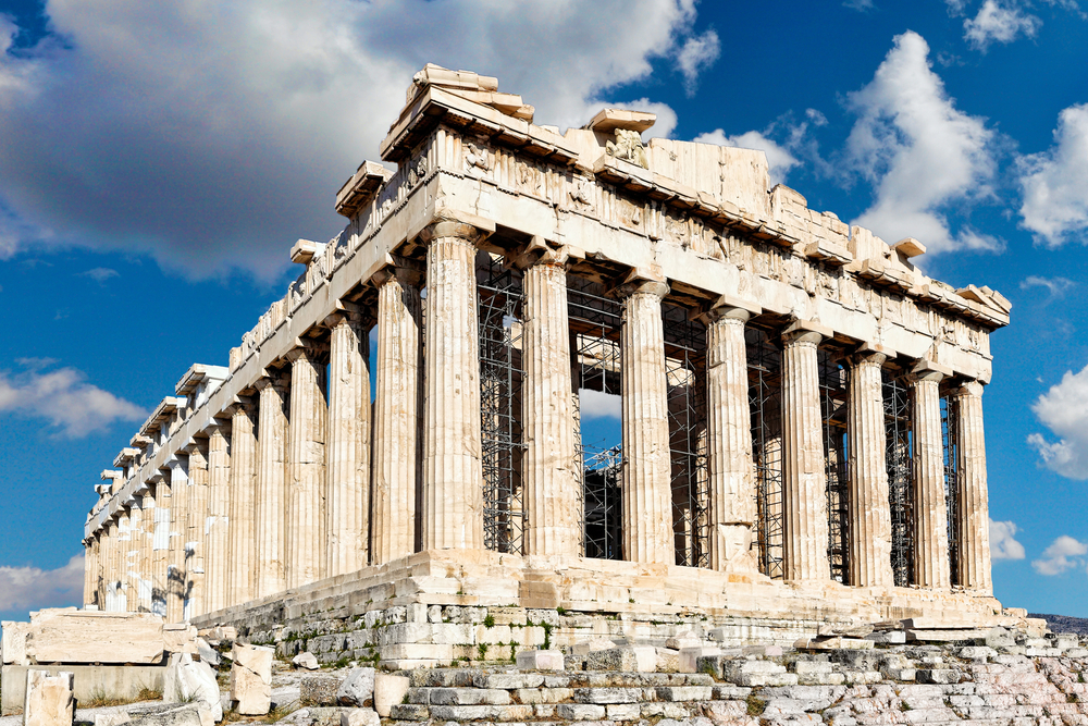 the acropolis of Athens with blue sky behind
